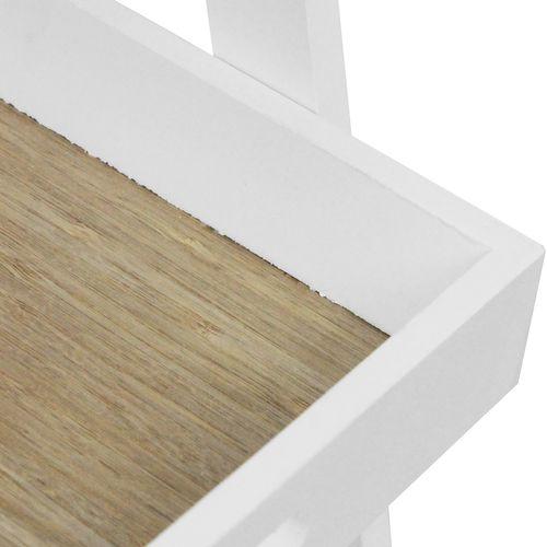 Holz Blumenetagere 2 Ebenen 40x28x60cm - Weiß/Natur – Bild 5