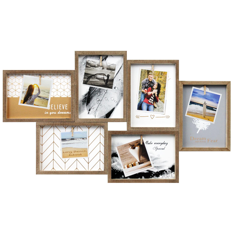 fotorahmen 60x35x2cm mit 6 klammern natur wohnen bilderrahmen. Black Bedroom Furniture Sets. Home Design Ideas