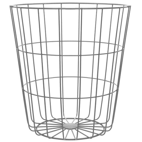 Beistelltisch Ø39xH42cm Metallkorb mit Deckel - Weiss – Bild 7
