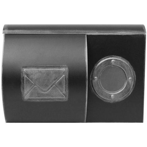 Wand Briefkasten mit Zeitungsfach und runden Sichtfenster / Motiv Brief / Silber – Bild 1