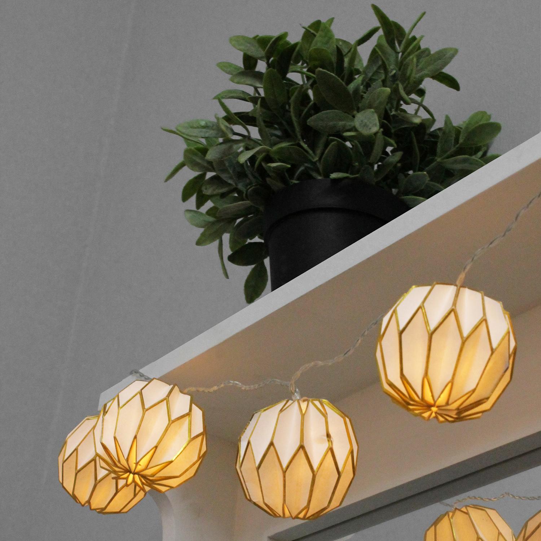 10er led lichterkette mit runden lampions batteriebetrieb lichterdeko f r innen 4047096888309 ebay. Black Bedroom Furniture Sets. Home Design Ideas