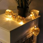 10er LED Lichterkette mit Glasherzen Gold