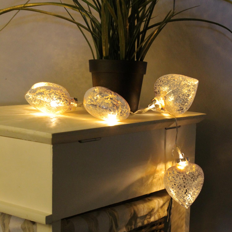 Lichterkette Mit Bildern : Er led lichterkette mit glasherzen silber weihnachten