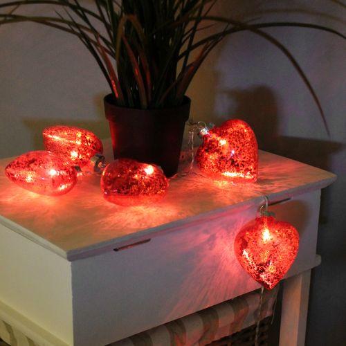 10er LED Lichterkette mit Glasherzen Rot – Bild 2
