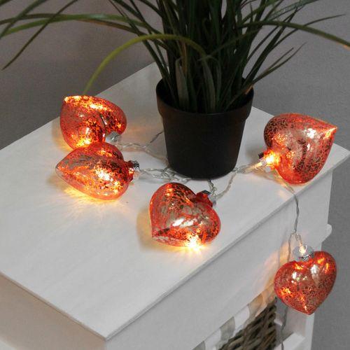 10er LED Lichterkette mit Glasherzen Rot – Bild 1