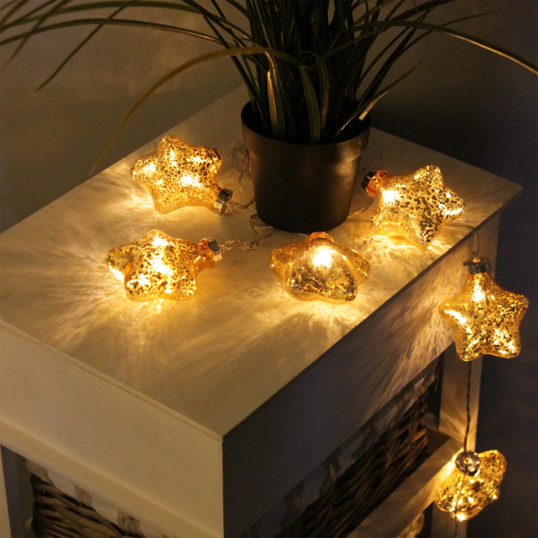 10er led lichterkette sterne gold weihnachten lichterketten lichterketten. Black Bedroom Furniture Sets. Home Design Ideas