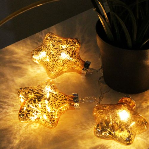 10er LED Lichterkette Sterne Gold