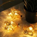 10er LED Lichterkette Sterne Gold 001