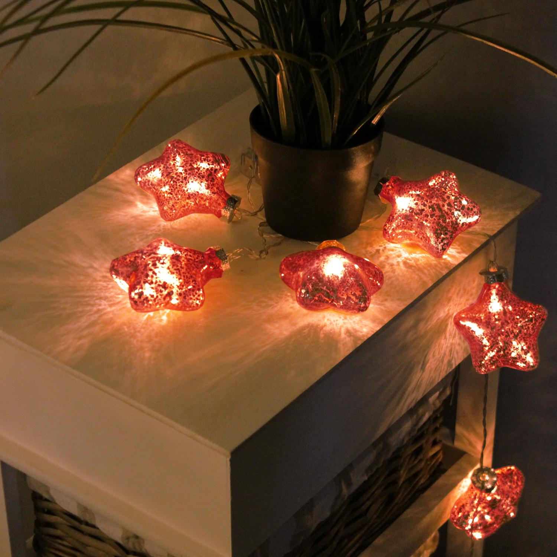 10er led lichterkette mit glassternen rot weihnachten weihnachts beleuchtung. Black Bedroom Furniture Sets. Home Design Ideas
