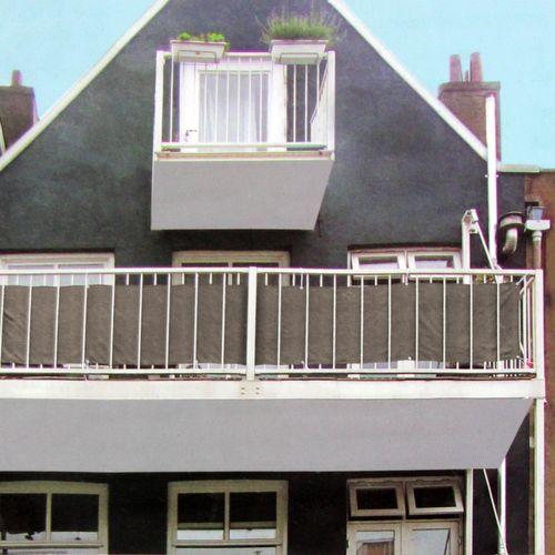 Sichtschutz 445x76cm für Balkon - Braun/Beige – Bild 1