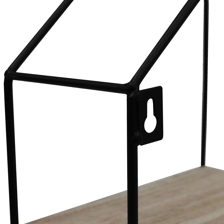 wandregal haus 35x10x50cm mit 4 ebenen schwarz natur. Black Bedroom Furniture Sets. Home Design Ideas