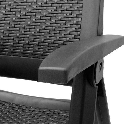 5tlg. Garnitur Kunststoff Tisch Reno 70x70cm + Klappsessel Gold 5-fach verstellbar – Bild 8