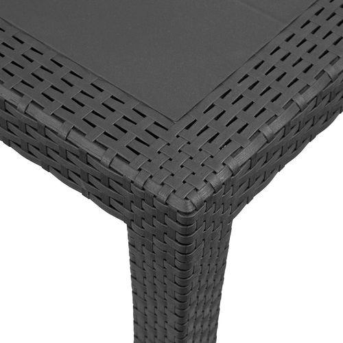 3tlg. Garnitur Kunststoff Tisch King 79x79cm + Klappsessel Gold 5-fach verstellbar – Bild 3
