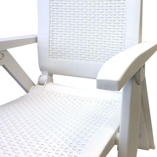 3tlg. Garnitur Kunststoff Tisch Don Ø70cm + Klappsessel Gold 5-fach verstellbar – Bild 6