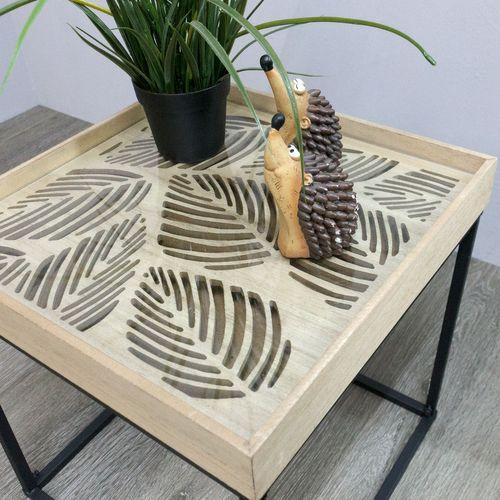 Couchtisch mit Tischglasplatte Jungle 39x39xH41cm - Schwarz/Natur – Bild 2