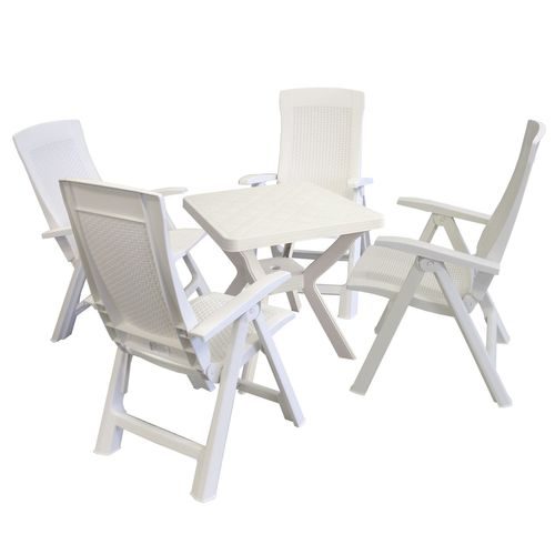 5tlg. Garnitur Kunststoff Tisch Reno 70x70cm + Klappsessel Gold 5-fach verstellbar