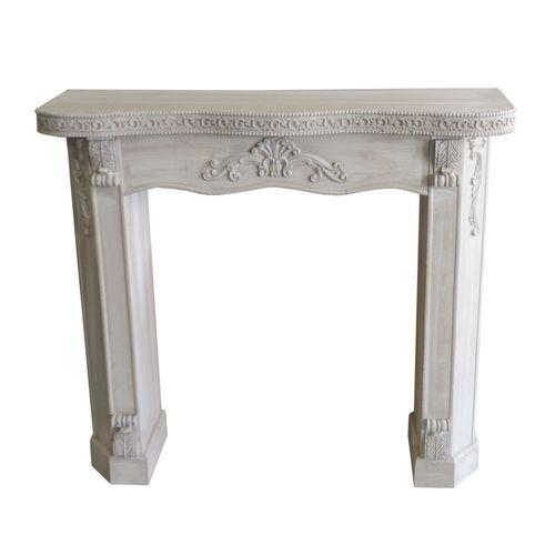 Kaminsims Kaminumrandung 111x31xH100cm - Weiß-Grau – Bild 1