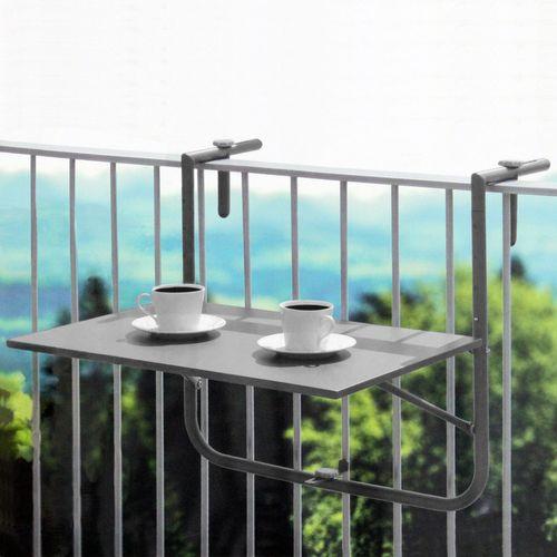 Balkontisch 60x40cm 3-fach höhenverstellbar - Grau – Bild 7