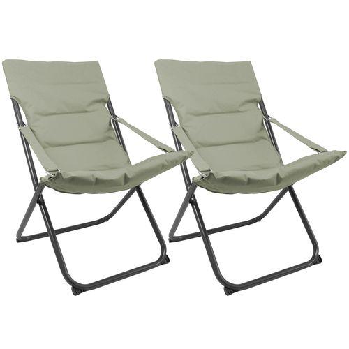 2Stk Liegestuhl klappbar in Dunkelgrün – Bild 1
