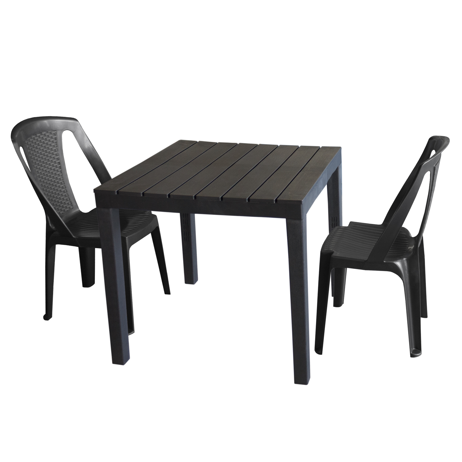gartenm bel set kunststoff gartentisch 78x78cm 2x stapelstuhl procida anthrazit garten bistro. Black Bedroom Furniture Sets. Home Design Ideas