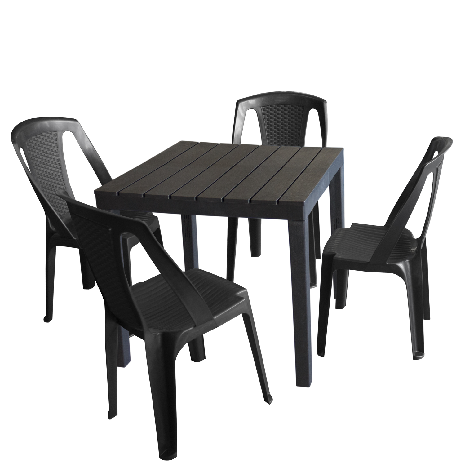 gartenm bel set kunststoff gartentisch 78x78cm 4x stapelstuhl procida anthrazit garten bistro. Black Bedroom Furniture Sets. Home Design Ideas