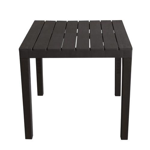 Gartenmöbel-Set Kunststoff Gartentisch 78x78cm + 4x Stapelstuhl Procida Anthrazit – Bild 2