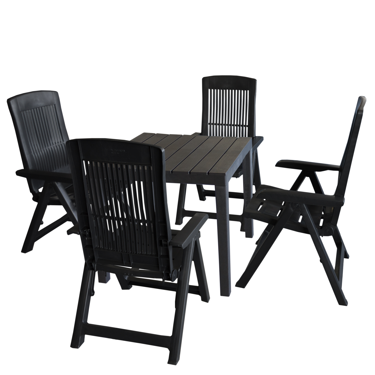 gartenm bel set kunststoff gartentisch 78x78cm 4x klappstuhl tampa anthrazit garten bistro und. Black Bedroom Furniture Sets. Home Design Ideas