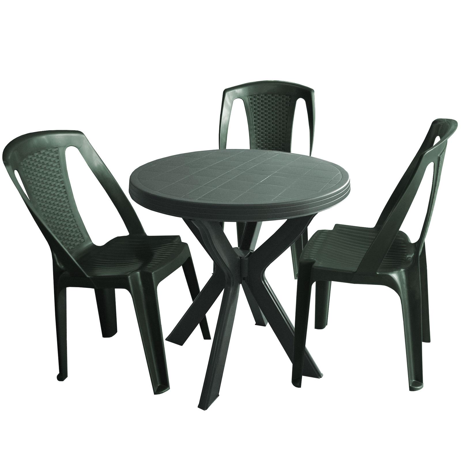 Gartentisch Don ø70cm Kunststoff Grün 3x Stapelstuhl Dunkelgrün
