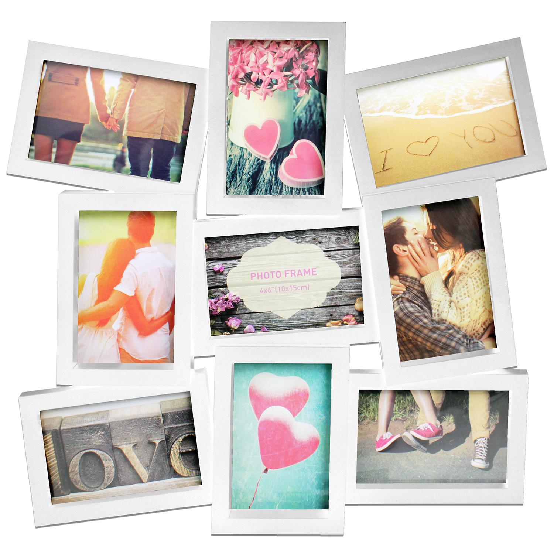 Fotorahmen 48,5x45,5x2cm für 9 Fotos in 2 Farben Wohnen Bilderrahmen