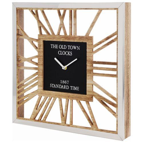 Wanduhr The Old Town Clocks 40x40cm - Natur/Silber/Schwarz