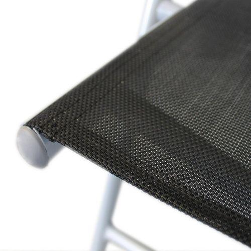 Aluminium Hochlehner 7-Pos. Silbergrau/Schwarz + Auflage 123x44x5cm Jade – Bild 6