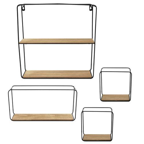4tlg. Wandregal Set 17,5x17,5cm / 17,5x35,5cm / 38x38cm - Schwarz/Natur – Bild 2