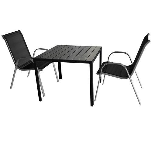 3tlg. Sitzgarnitur Gartentisch 90x90cm Schwarz + 2 Stapelstühle Textilen Grau/Schwarz – Bild 1