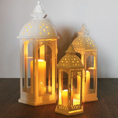 3tlg. Laternen-Set im orientalischem Style H30/40/50cm - Weiß – Bild 4