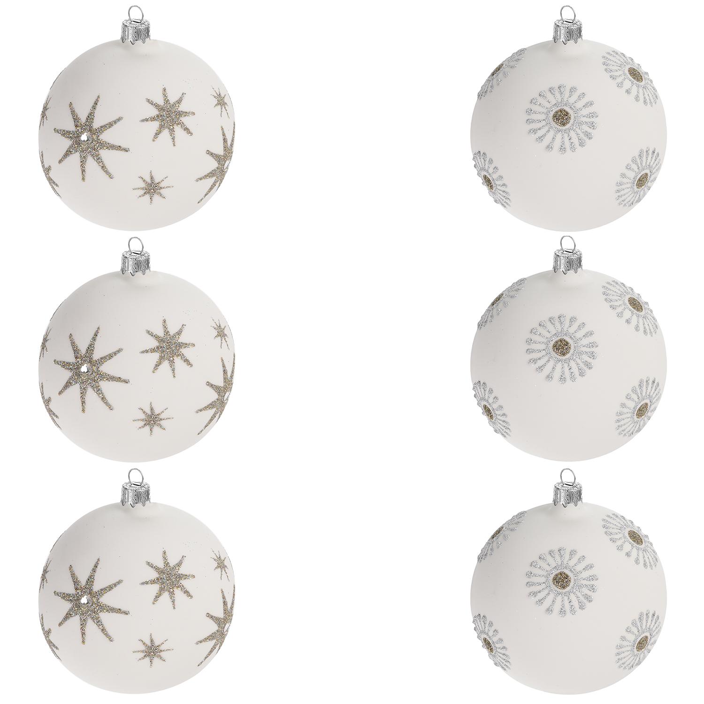 Weihnachtskugeln Weiß Silber.6 Stück Weihnachtskugeln ø8cm 2 Sorten Weiss Gold Silber