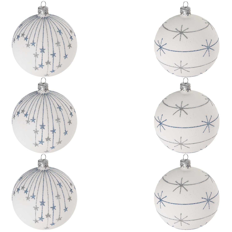 Weihnachtskugeln Weiß Silber.6 Stück Weihnachtskugeln ø8cm 2 Sorten In Schachtel Weiss Blau Silber
