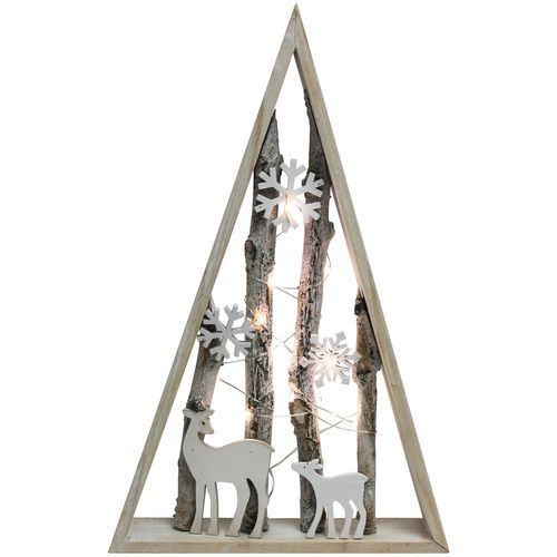 Holzrahmen Tanne mit Wintermotiv inkl. Lichterkette 40x26x5cm