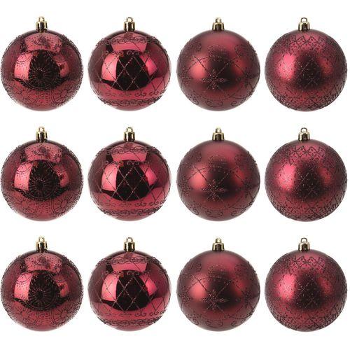 12 Stück Weihnachtskugeln Ø8cm 4 Sorten in Schachtel Bordeaux Rot – Bild 1