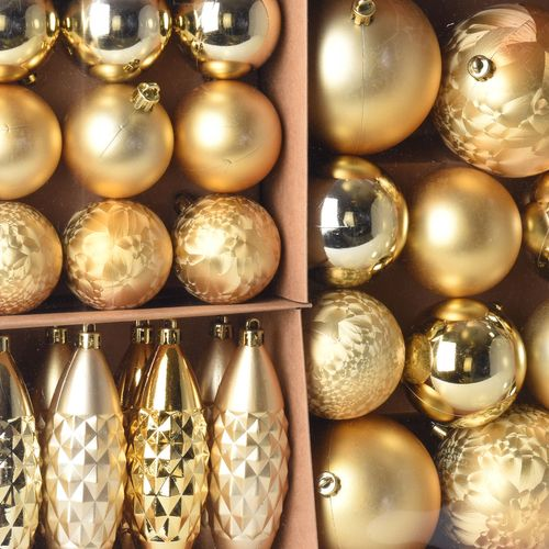 31er Set Weihnachtskugeln Ø8/6/5cm Gold – Bild 2