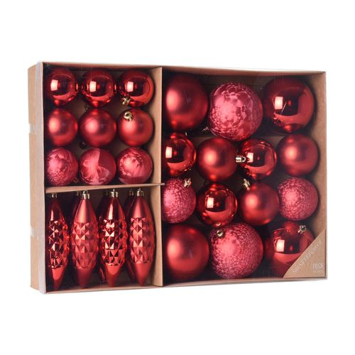 31er Set Weihnachtskugeln Ø8/6/5cm Rot – Bild 1