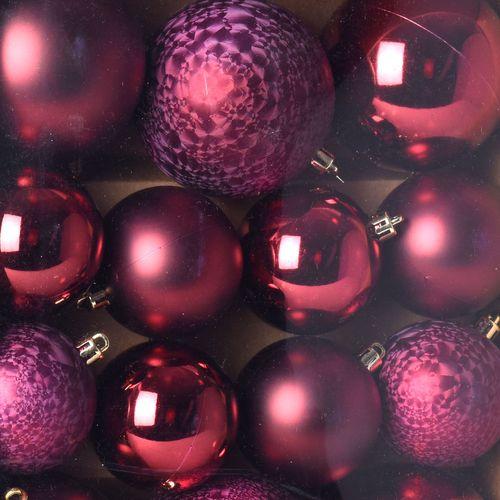 31er Set Weihnachtskugeln Ø8/6/5cm Bordeaux – Bild 2