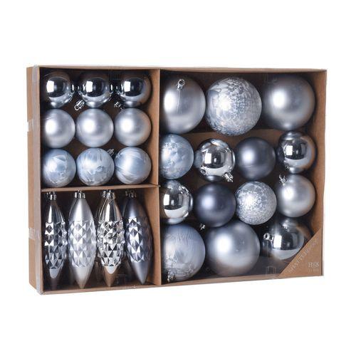 31er Set Weihnachtskugeln Ø8/6/5cm Silber/Grau – Bild 1