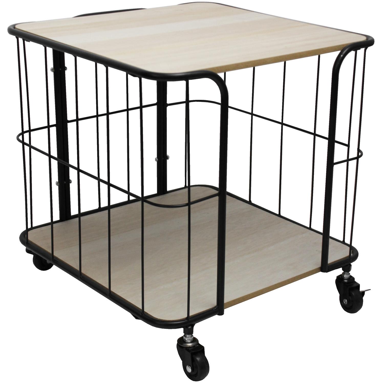 beistelltisch auf rollen 40x40x40cm 2 ablagen natur schwarz wohnen kleinm bel. Black Bedroom Furniture Sets. Home Design Ideas