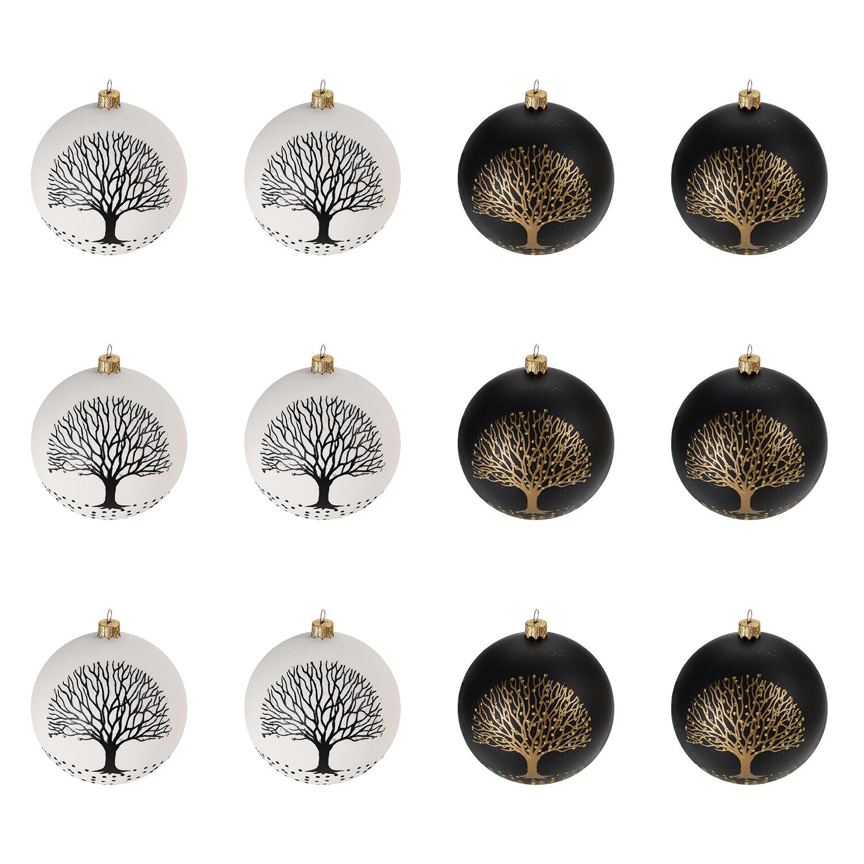 12 st ck weihnachtskugeln baum 6cm 2 sorten in schachtel schwarz weiss weihnachten rund um den. Black Bedroom Furniture Sets. Home Design Ideas