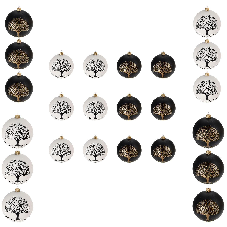 24tlg weihnachtskugel set baum 6 8 10cm schwarz weiss weihnachten weihnachtskugeln. Black Bedroom Furniture Sets. Home Design Ideas