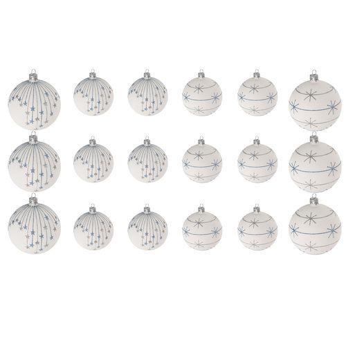 18tlg Weihnachtskugel Set Ø6/8cm Weiss/Blau/Silber – Bild 1