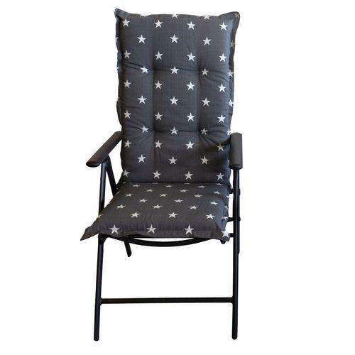 4er Set Hochlehner Polsterauflage 'Panama' 120x50cm Grau Sternenmuster