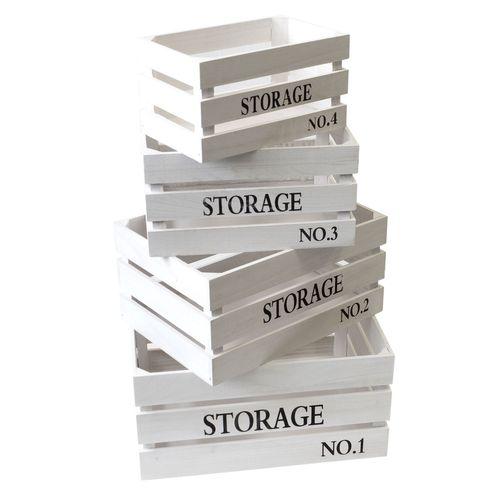 4tlg. Holzkisten-Set 'Storage' 40x30x20cm - Weiß