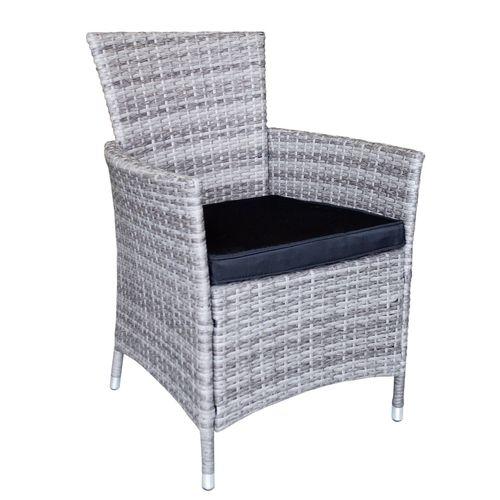5tlg. Balkonmöbel Set Tisch 79x79cm Kunststoff Schwarz + 4x Polyrattan-Sessel Grau