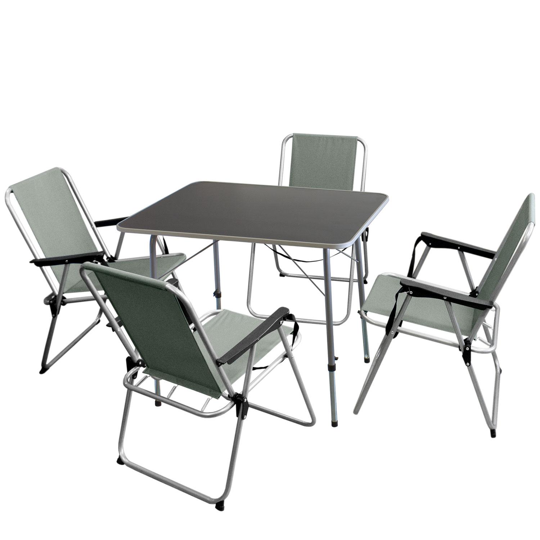 Campingmöbel-Set Klapptisch 80x60cm Silber//Grau 5tlg 4 Klappstühle Grau